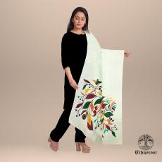 Flora - Hand Painted Sohrai Art Tussar Stole