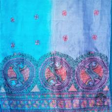 Fishes- Hand Painted Madhubani Art Tussar Duppatta