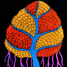 Banyan Tree - Hand Painted Gond Painting