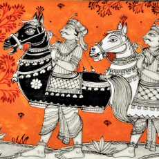 Ghoda Nach- Hand Painted Pattachitra Painting