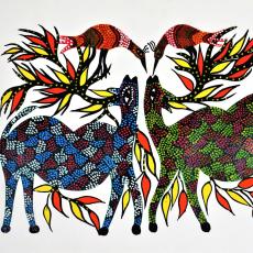 Deery Affair- Hand Painted Bhil Painting