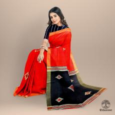 Black Red - Raw Silk Saree