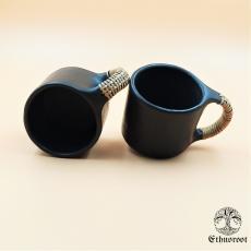 Round Coffee Cupset of 6 - Black Longpi Pottery